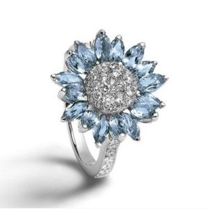 Jewelry - Blue Silver Sunflower Ring